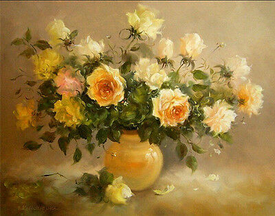 """New Acrylic Paint By Numbers 16x20""""kit Painting On Canvas DIY Fragrant Flowers"""