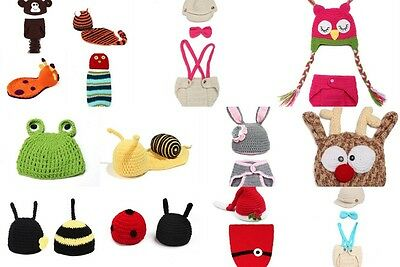 Baby Infant Toddler Costume Knit Photography Prop Animal Crochet Beanie Hat Set