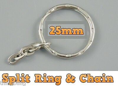 25mm Split Ring & Chain KEY KEYRINGS  ROUND RING KEYRING KEYS CLASP 10 to 1000