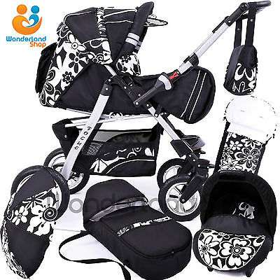 Baby pram 3in1+ Car Seat+Swivel Wheels+stroller + pushchair +Buggy+Travel System