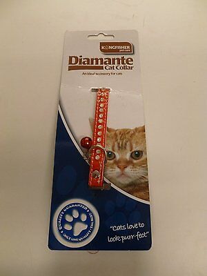 Cat Collar Diamante Crystal with Safety Elastic Buckle and Bell Assorted Colour