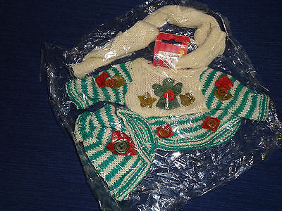 """New! Home Spun Traditions 8"""" BEAR CLOTHES Winter knit Sweater Scarf Hat"""
