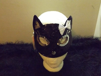 new black cat sequined mask one size up to adult costume theater pretend kitty