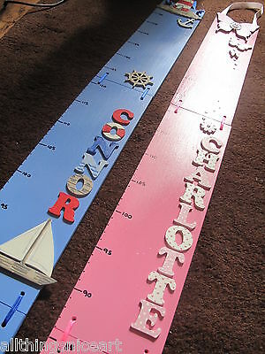 Hand Painted Wooden Height Chart - Personalised - CHOICE OF THEMES & COLOURS