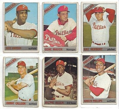 1966 TOPPS PHILADELPHIA PHILLIES  LOT OF 9  DIFFERENT