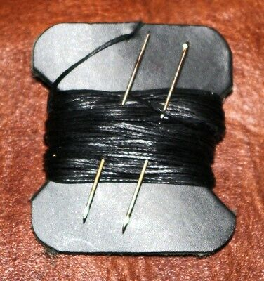 Strong Black 1mm Thick Leather Sewing Hand Stitching Thread Waxed with 2 Needles