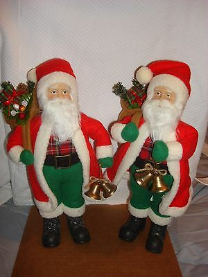 """Pair of Santa Claus Doll Display Christmas Decoration Holding Toy Sack 12"""""""
