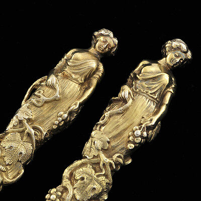 ANTIQUE ENGLISH STERLING PAIR WOMEN FIGURAL 3D REALISTIC Knife & Fork ART SILVER