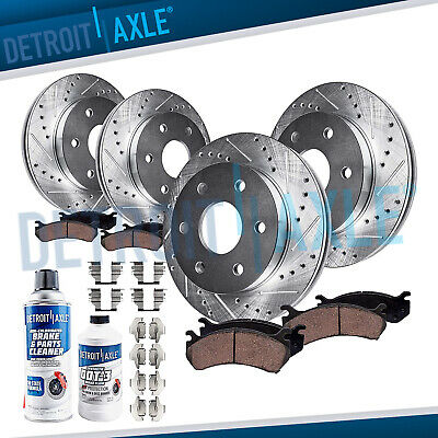 Front Rear Ceramic Drilled & Slotted Brake Pads and Rotors Chevy Silverado Tahoe