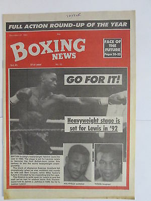 Boxing News 27 Dec 1991 Lewis Holyfield Tyson Buck Smith Vito Antuofermo Carew