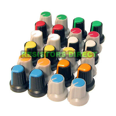 24pcs Knobs Assortment Kit, for 6mm 18 Teeth Shaft Pots 12 Colors USA R43