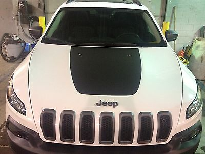 Jeep Cherokee 2014 Front Hood Decal Inlay Cover Trailhawk Wrap Matte Black Vinyl