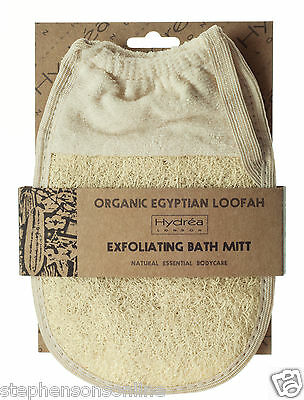 Hydrea London Organic Egyptian Loofah Exfoliating Bath Pad Mitt With Cuff LMT4