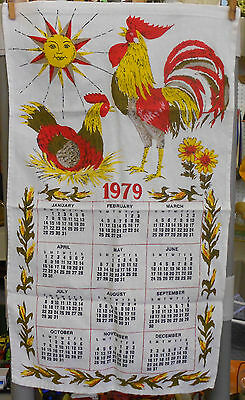 vintage cloth wall CALENDAR 1979 awesome ROOSTER/HEN zodiac style SUN NICE