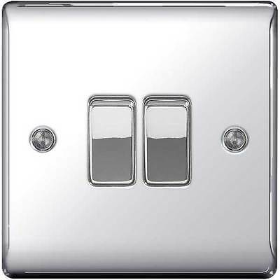 Polished / Mirror Chrome Twin Light Switch - 10amp 1 or 2 way