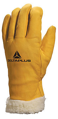 Delta Plus FBF15 Leather Thermal Work Gloves Acrylic Fleece Lined & Padded Cuff