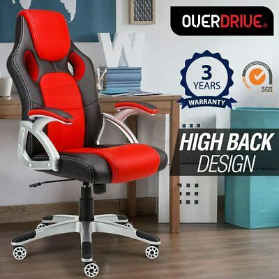 OVERDRIVE Racing Office Chair- Seat Executive Computer Gaming PU Leather Deluxe