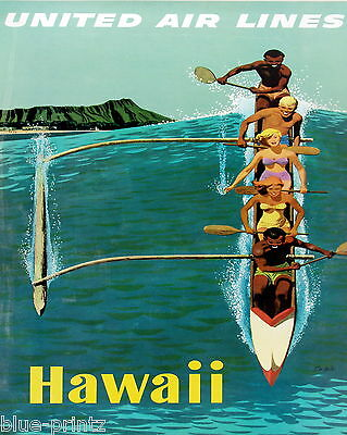 green PRINT VINTAGE ART hawaii  TRAVEL POSTER PAPER OR CANVAS