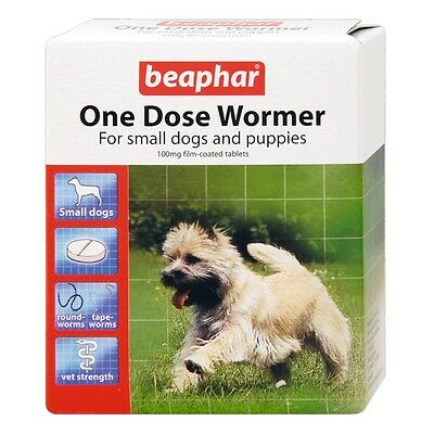 Beaphar Dog Worming Tablets One Dose Wormer Tablets for Small Dogs 3 Pack