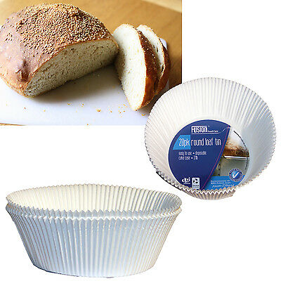 Pack 20 Round 2Lb Bread Loaf Making White Disposable Paper Tin Liners Cases Cake
