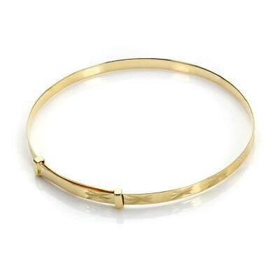 9ct Gold Expandable Baby / Kids Bangle - Diamond Cut Styles