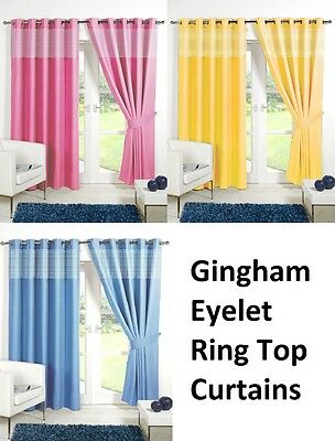 CHILDRENS GINGHAM Thermal Blackout  Curtains EYELET / RING TOP + FREE TIE BACKS