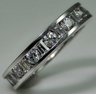 4 ct tw Eternity Ring Simulant Imitation Moissanite Size 9 Sterling Silver