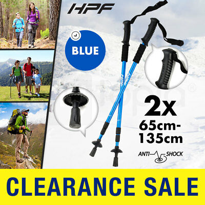 NEW HPF Hiking Trekking Poles Anti Shock Walking Stick Camping Adjustable Blue