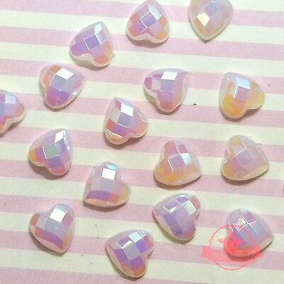 50 pcs DIY Jelly Heart Acrylic faceted Rhinestone 8mm Flatback White Pink AB