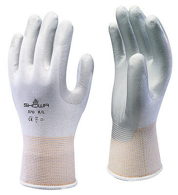 10 x Pairs Of Showa 370 White Assembly Grip Gloves Nitrile Coated PPE Work Wear