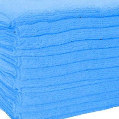 24 Blue Microfiber Towels New Cleaning Cloths Bulk 16X16 Manufacturers Sale