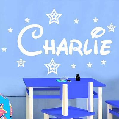 Personalised ANY Name Disney Style Boys Girls with Stars  WALL STICKER transfer