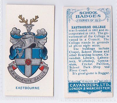 School Badges (Light Blue Back) - Cavanders 1928 - Eastbourne