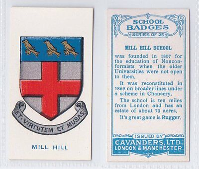 School Badges (Light Blue Back) - Cavanders 1928 - Mill Hill