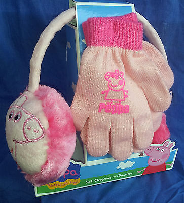 Peppa Pig Set Paraorecchie E Guanti Earmuffs And Gloves Orejeras + Guantes