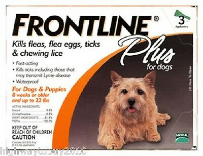 (10) boxes Frontline Plus # 287010 3 Pack Small Dog Flea, Tick & Lice Treatment