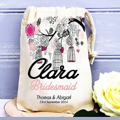 Pretty birdcage personalised wedding favour hen party cotton gift bag.