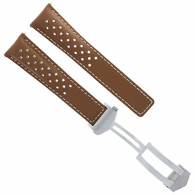 Leather Band Watch Strap Clasp 22Mm For Tag Heuer Carrera Monaco Tan Ws Perforat