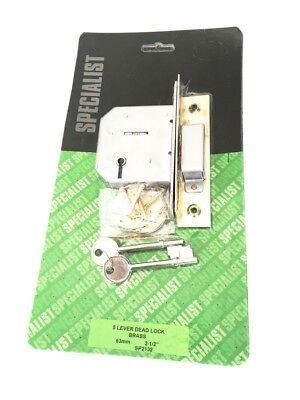 "Brass Forend 5 Lever Deadlock 63mm 2 1/2"" With 2 Keys. Internal Lock. Locks"