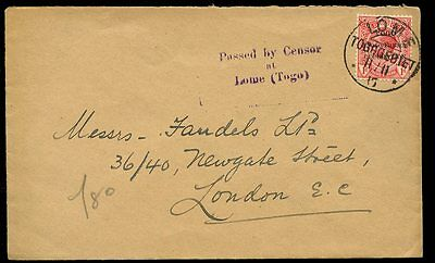 TOGO WW1 Anglo French Occupation 1d cover UK Lome Togogebeit pmk +Passed Censor