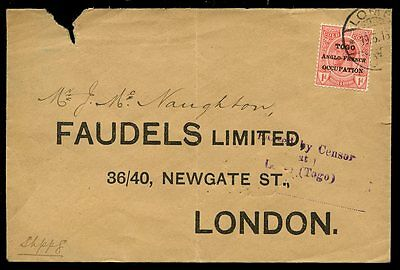 TOGO WW1 Anglo French Occupation 1d cover to UK Lome cancel and Passed Censor