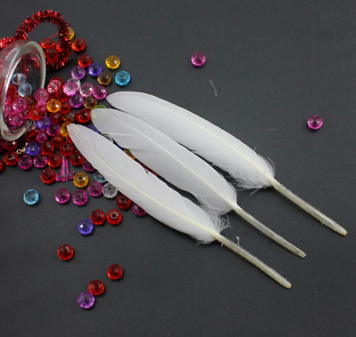 Pack of 5 x 10-15cm Gorgeous White Goose feathers for craft/millinery/flyfishing
