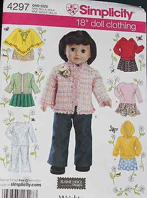"""18"""" GIRL DOLL CLOTHES Simplicity Sewing Pattern 4297 American Made NEW Uncut"""