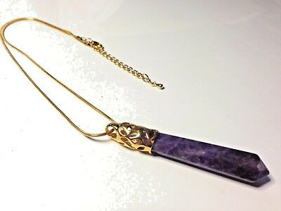 Gold Amethyst Crystal Quartz Healing Gemstone & Snake Chain Necklace Pendant