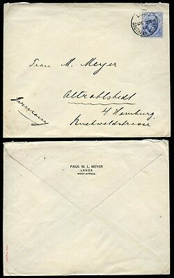 SOUTHERN NIGERIA 1913 KG5 2 1/2d SOLO to GERMANY...PAUL MEYER ENVELOPE LAGOS