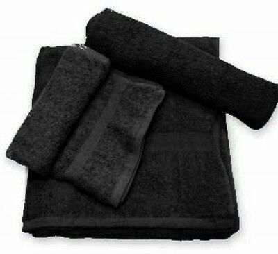 72pc (6 dozen) black salon hand towels dobby border ringspun cotton 16x27 3#