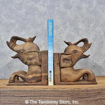 #11979 E | Hand Carved Wooden Elephant Bookends - Safari Taxidermy Decor