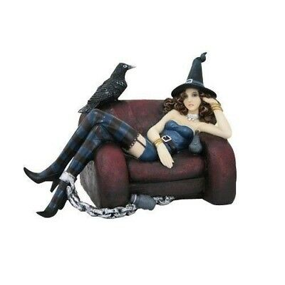 """Dark Raven and Sexy Witch Chained to Couch Figurine Magician Statue 6""""H Decor"""
