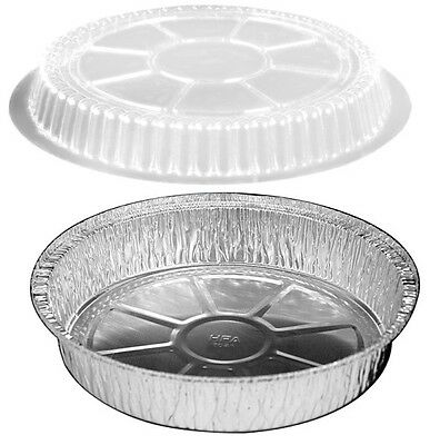 """9"""" Round Foil Take-Out/Cake Pan w/Clear Dome Lid 500/PK - Aluminum Containers"""