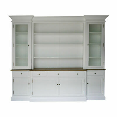 Hampton Style Buffet Sideboard and Glass Hutch Open Bookcase in White